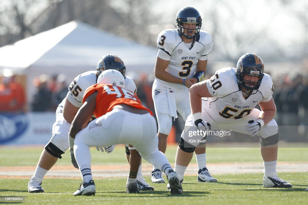 Spencer Keith #3 of the Kent State Golden Flashes calls a play during the game against the Bowling Green Falcons on November 17, 2012 at Doyt Perry Stadium in Bowling Green, Ohio.