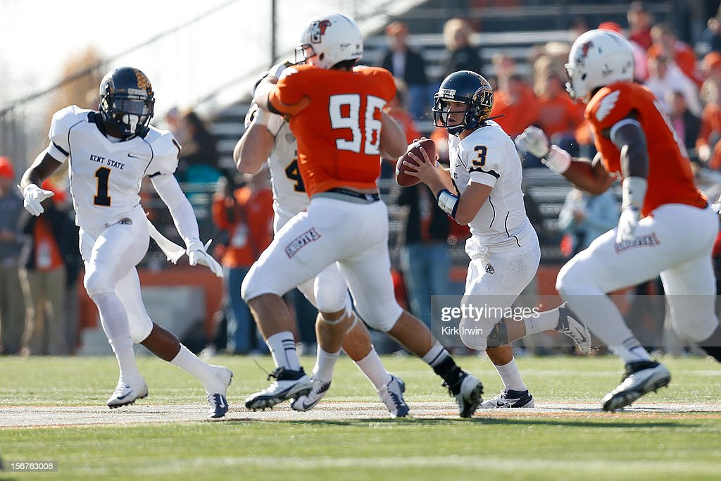 Spencer Keith #3 of the Kent State Golden Flashes looks to pass the ball during the game against the Bowling Green Falcons on November 17, 2012 at Doyt Perry Stadium in Bowling Green, Ohio.