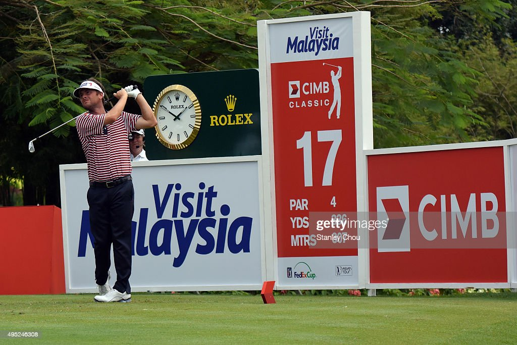 Spencer Levin of the United States plays on the 17th hole during round four of the CIMB Classic at Kuala Lumpur Golf & Country Club on November 1, 2015 in Kuala Lumpur, Malaysia.