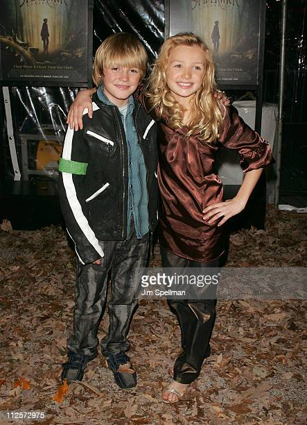 Spencer List and Peyton List arrive at 'The Spiderwick Chronicles' premiere at AMC Lincoln Square on February 4 2008 in New York City