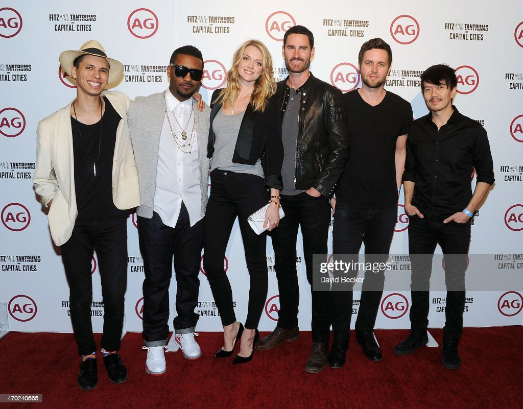 Spencer Ludwig and Channing Cook Holmes of Capital Cities, model Lindsay Ellingson and Ryan Merchant, Nick Merwin and Manny Quintero of Capital Cities arrive at The Chelsea at The Cosmopolitan of Las Vegas on February 18, 2014 in Las Vegas, Nevada.