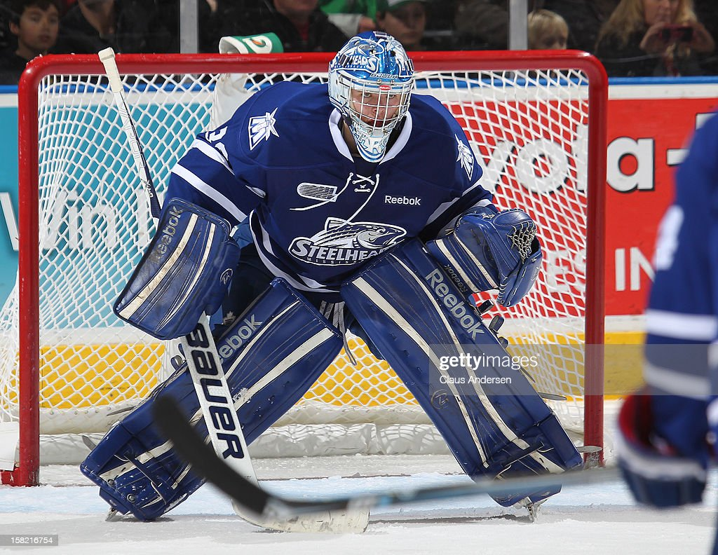 Spencer Martin #30 of the Mississauga Steelheads watches for a shot in an OHL game against the London Knights on December 9, 2012 at the Budweiser Gardens in London, Ontario, Canada. The Knights defeated the Steelheads 5-2 and tied their franchise record of 18 straight wins.