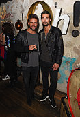 Spencer Matthews and Hugo Taylor attend an after party celebrating the premiere of Belstaff Films' 'Outlaws' during London Fashion Week at La Bodega...
