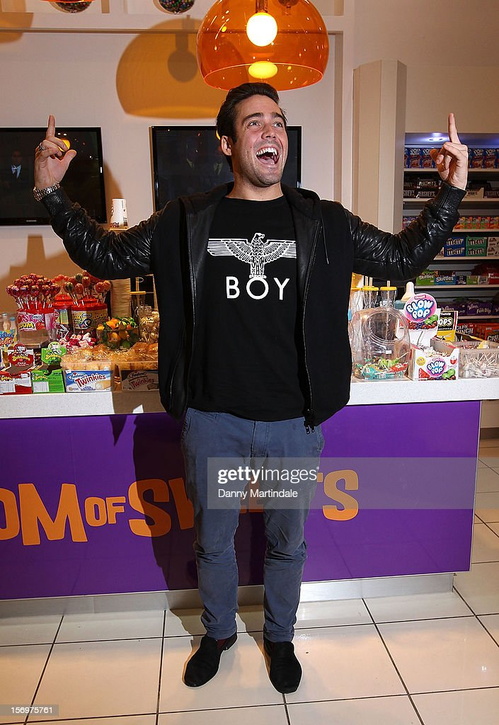 Spencer Matthews attends a photocall to open the UK's Largest sweet shop - Kingdom of Sweets at Lakeside Shopping Centre on November 26, 2012 in Thurrock, England.