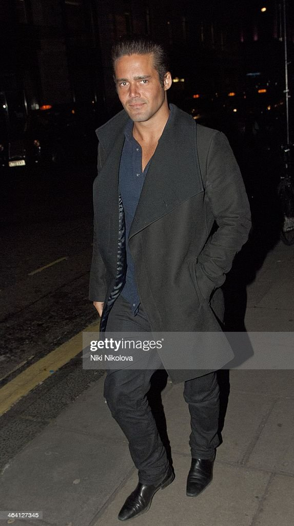 <a gi-track='captionPersonalityLinkClicked' href=/galleries/search?phrase=Spencer+Matthews&family=editorial&specificpeople=7799257 ng-click='$event.stopPropagation()'>Spencer Matthews</a> is seen in Mayfair on January 20, 2014 in London, England.