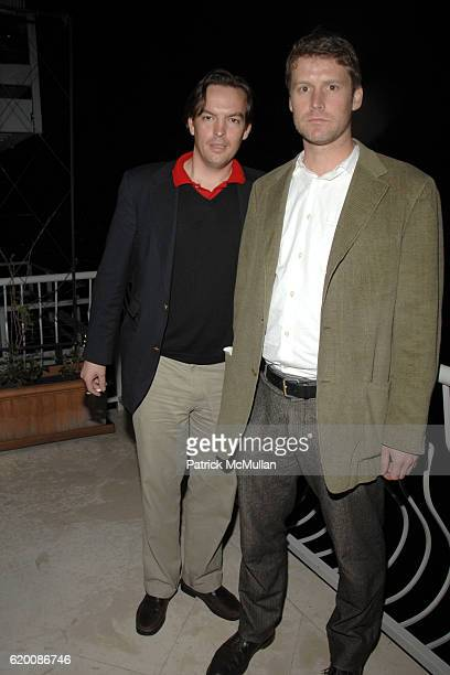 Spencer Morgan and Abraham Sutherland attend ALEX HITZ Birthday Party at Alex Hitz Home on February 23 2008 in Hollywood Hills CA