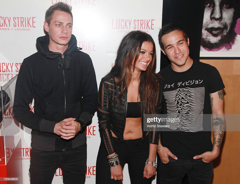 Spencer Peterson, Bebe Rexha and <a gi-track='captionPersonalityLinkClicked' href=/galleries/search?phrase=Pete+Wentz&family=editorial&specificpeople=595892 ng-click='$event.stopPropagation()'>Pete Wentz</a> of Black Cards attend the Puma x Lucky Strike Bowling Shoe launch at Lucky Strike on July 28, 2011 in New York City.