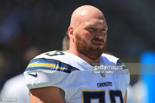 Spencer Pulley of the Los Angeles Chargers is seen before the game against the Kansas City Chiefs at the StubHub Center on September 24 2017 in...