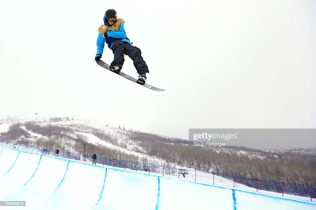 Spencer Shaw competes in the semi-finals of the FIS Snowboard Halfpipe World Cup at the Sprint U.S. Grand Prix at Park City Mountain on January 30, 2013 in Park City, Utah.