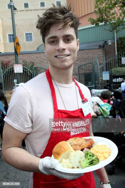 Spencer Sutherland attends Los Angeles Mission's Easter Celebration at Los Angeles Mission on April 14 2017 in Los Angeles California