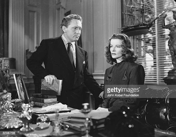 Spencer Tracy and Katharine Hepburn in a scene from George Cukor's dramatic film 'Keeper Of The Flame'