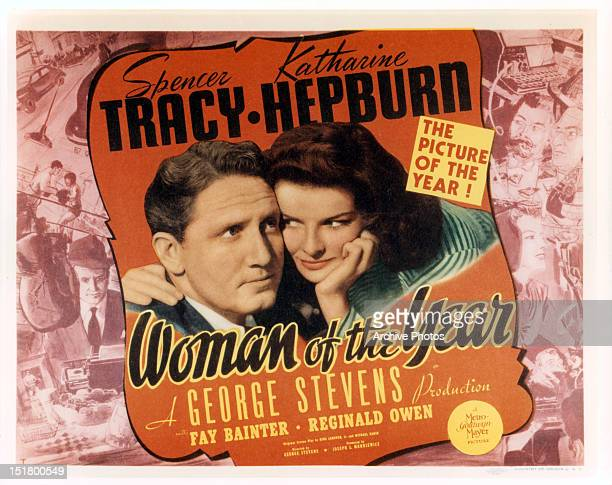 Spencer Tracy and Katharine Hepburn in movie art for the film 'Woman Of The Year' 1942