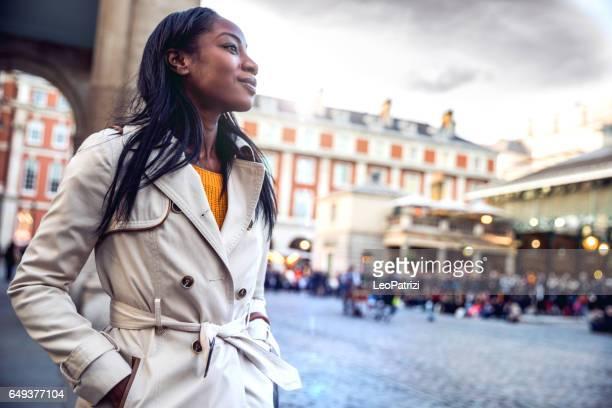 Spending a weekend in London, woman walking in downtown