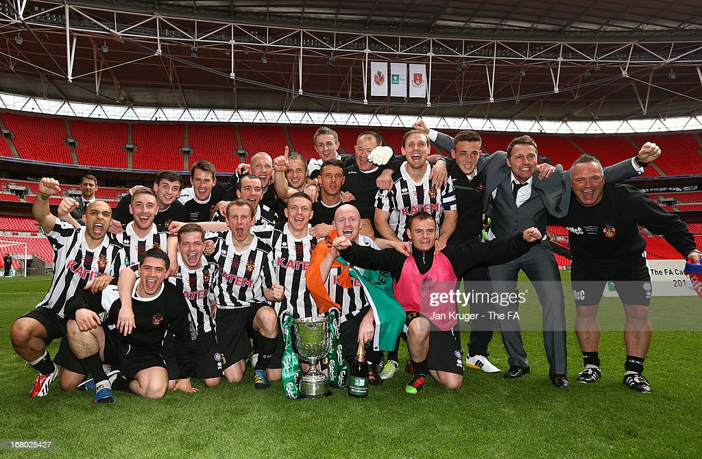 Spennymoor Town players celebrate the win during the FA Carlsberg Vase Final match between Spennymoor Town FC and Tunbridge Wells FC at Wembley Stadium on May 4, 2013 in London, England.
