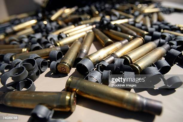 Spent brass and disintegrated links are all that were left of the M-2 .50-caliber portion of the a machine gun shoot with Headquarters Company, Regimental Combat Team 5.