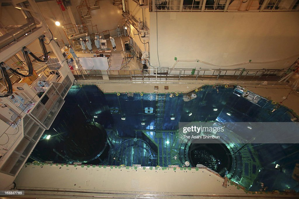 A spent fuel pool of Genkai Nuclear Power Plant's No. 3 reactor where the fuel assemblies are preserved, is opened to the press on March 7, 2013 in Genkai, Saga, Japan. The reactor has been stopped since December 2010 for regular investigation.