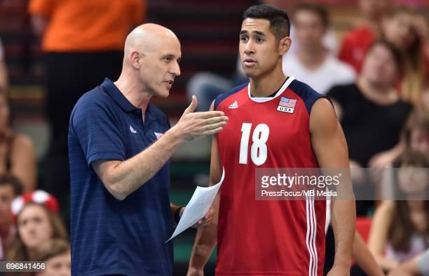 Speraw John head coach Muagututia Garrett during the FIVB World League 2017 match between Iran and USA at Arena Spodek on June 15 2017 in Katowice...