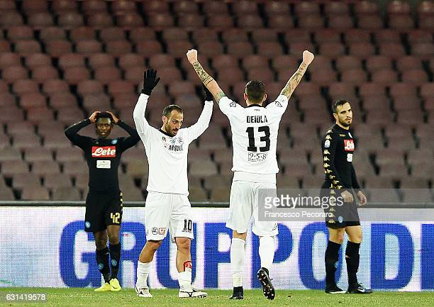 Spezias player Antonio Piccolo celebrates after scoring the 11 goal beside the disappointment of Amadou Diawara and Nikola Maksimovic players of SSC...