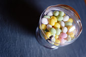 Sphere in Plexiglas with Easter eggs candies
