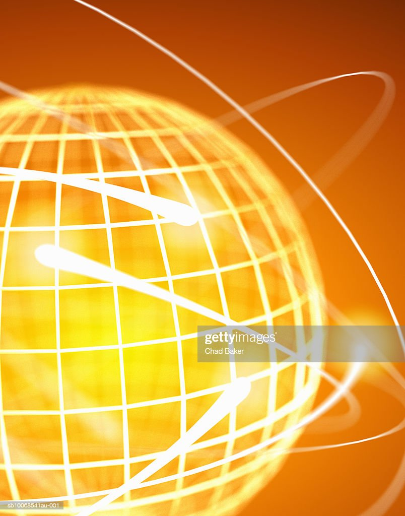 Sphere with surrounding light trails, close up, digitally generated : Stock Photo