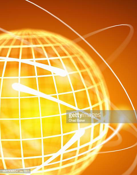 Sphere with surrounding light trails, close up, digitally generated