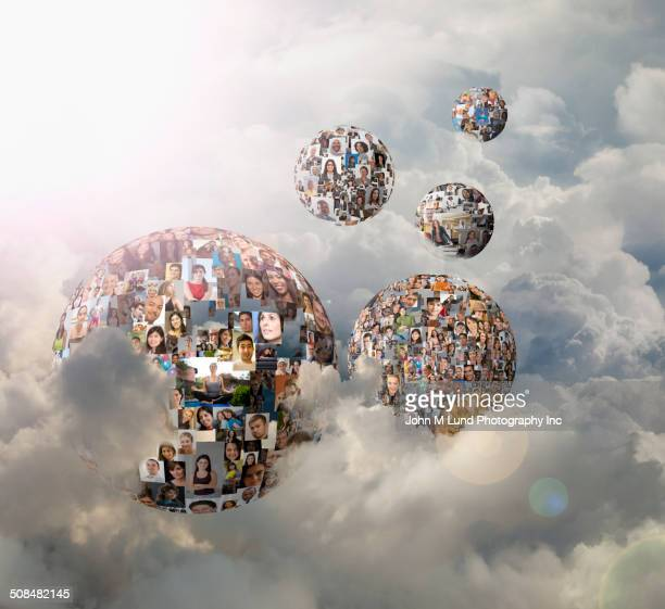 Spheres with collage of smiling faces in clouds