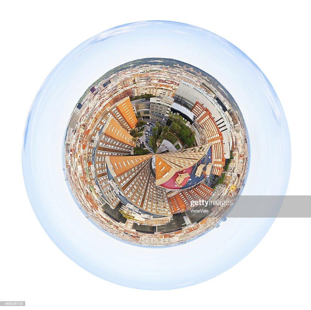 球形パノラマに広がる街のスペインのバルセロナで : ストックフォト