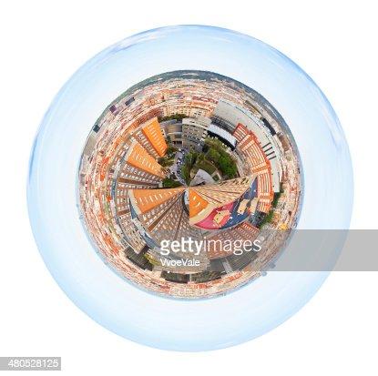 Kugelförmige panorama der Viertel in Barcelona, Spanien : Stock-Foto