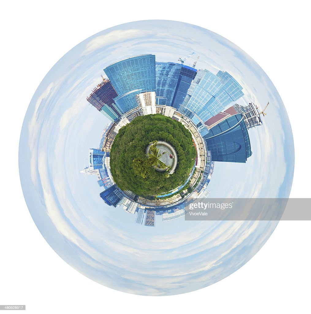 spherical panorama of Moscow city towers in spring : Bildbanksbilder
