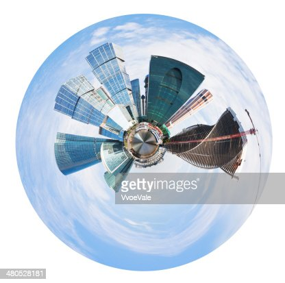 spherical panorama of Moscow city towers : Stockfoto