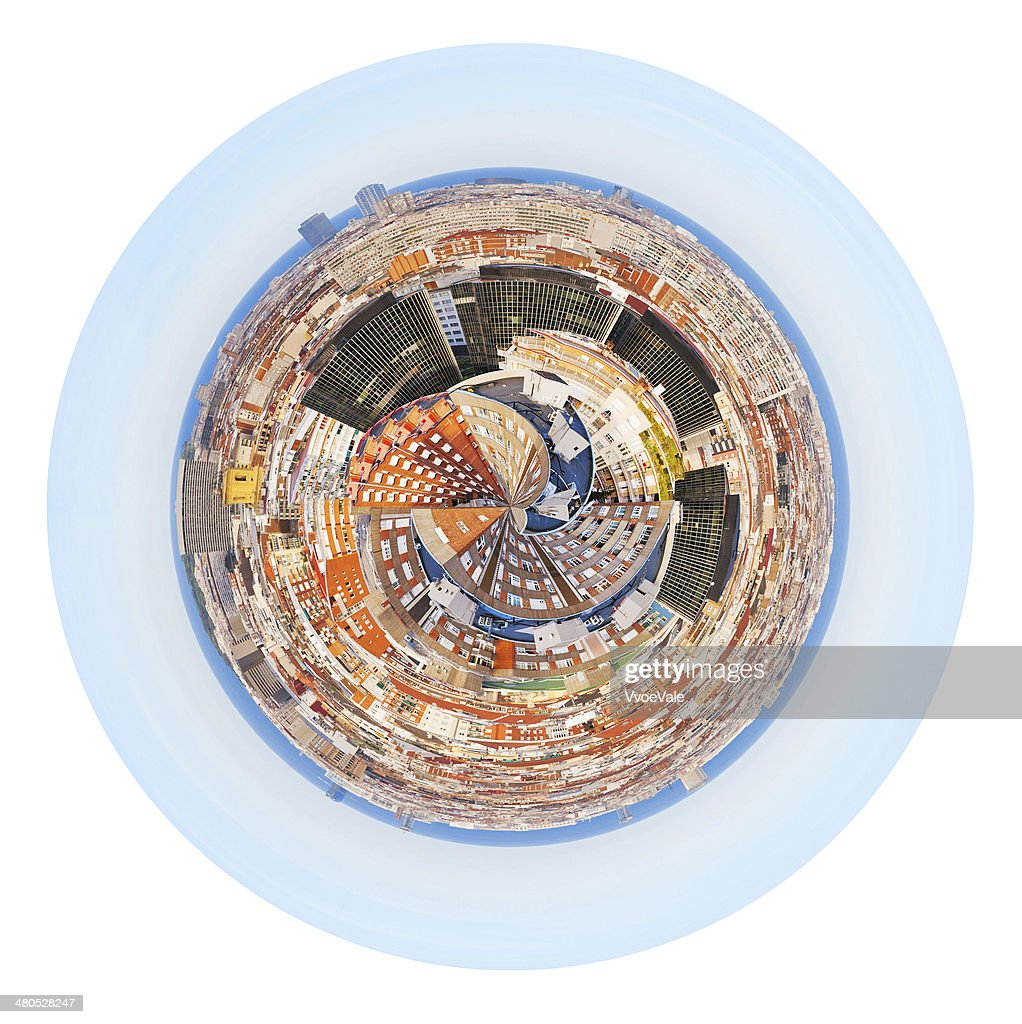 spherical panorama residential area in Barcelona : Stock Photo