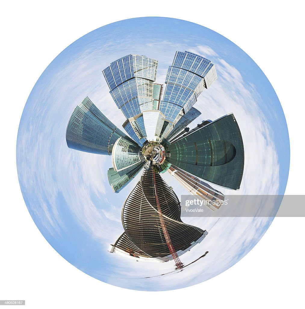 spherical panoramic skyline of Moscow city : Stock Photo
