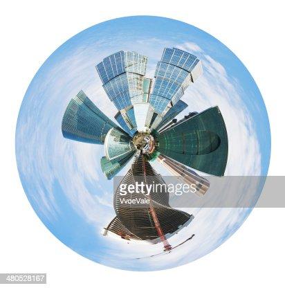 spherical panoramic skyline of Moscow city : Stock Photo