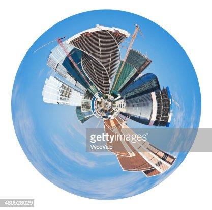 Kugelförmige Panoramablick auf Moskau Stadt : Stock-Foto