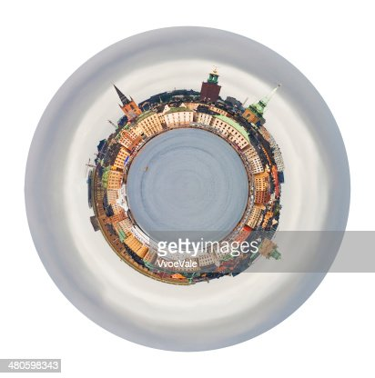 spherical skyline of Gamla Stan, Stockholm : Stock Photo