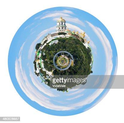 spherical view of Kiev Pechersk Lavra : Stock Photo