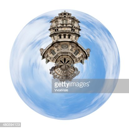 spherical view of old Sainte-Trinite Church in Paris : Stock Photo