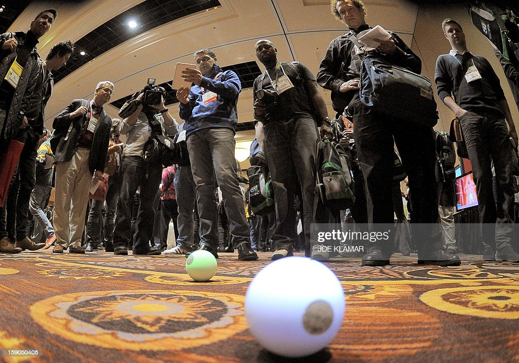 Sphero robot ball operated by iPad is shown during the opening event ''CES Unveiled'' during the International Consumer Electronics Show (CES) in Mandalay Bay Hotel resort on January 06, 2013 in Las Vegas, Nevada.AFP PHOTO / JOE KLAMAR