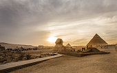 Sunset of the Pyramids and the Sphinx in Cairo