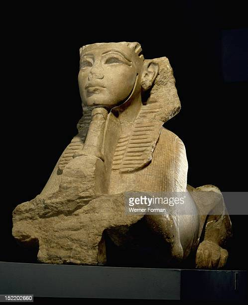 A sphinx presenting an offering The sphinx represents the king as Re Harakhty the sun on the eastern horizon It has been dated to Tutankhamuns reign...