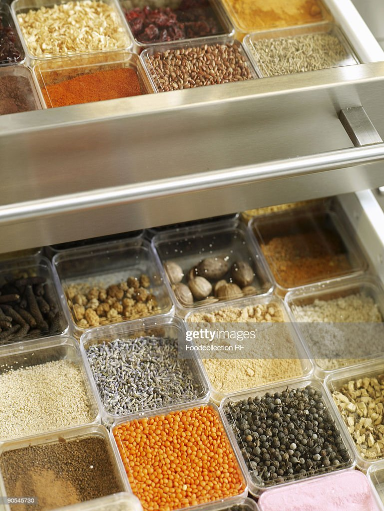 Spice drawer, elevated View : Stock Photo