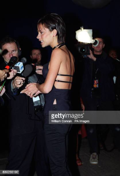 Spice Girl Victoria Beckham arrives at the 5th anniversary party of music station VH1 in London The party also launches the stations new show 'Emma'...