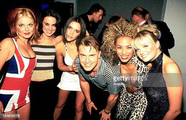 Spice Girls photographed with Gary Barlow backstage at the Brit Awards in February 1997