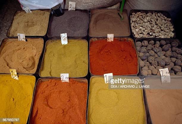 Spice vendor souk in the Muslim quarter of Jerusalem Israel