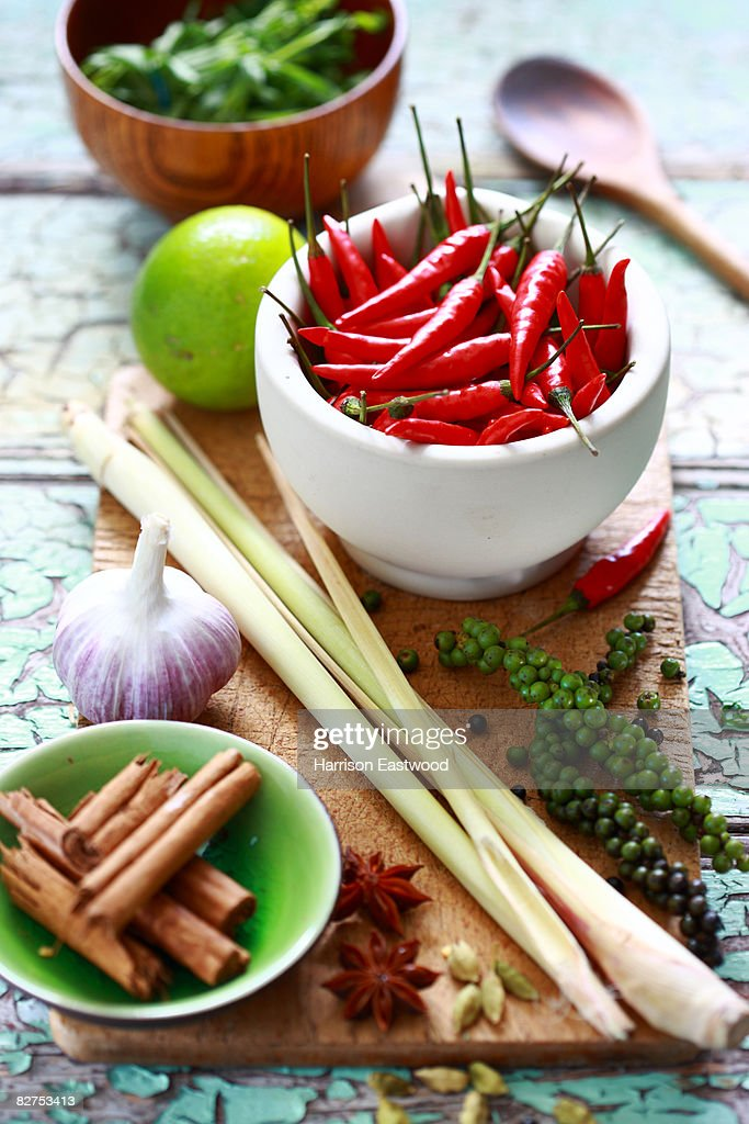 spices and ingredients on kitchen table : Stock Photo