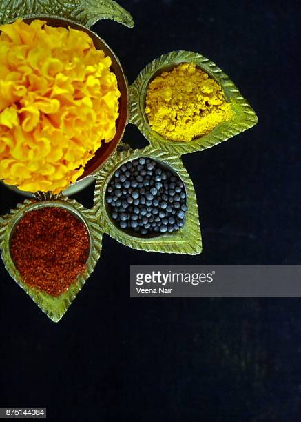 Spices and marigold flower/Still life