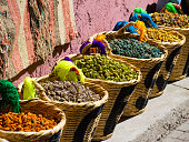 Spices are on sale in baskets, historic Medina, Marrakech, Marrakech-Tensift-El Haouz, Morocco