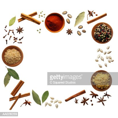 Spices Arranged in the Shape of a Square : Stock Photo