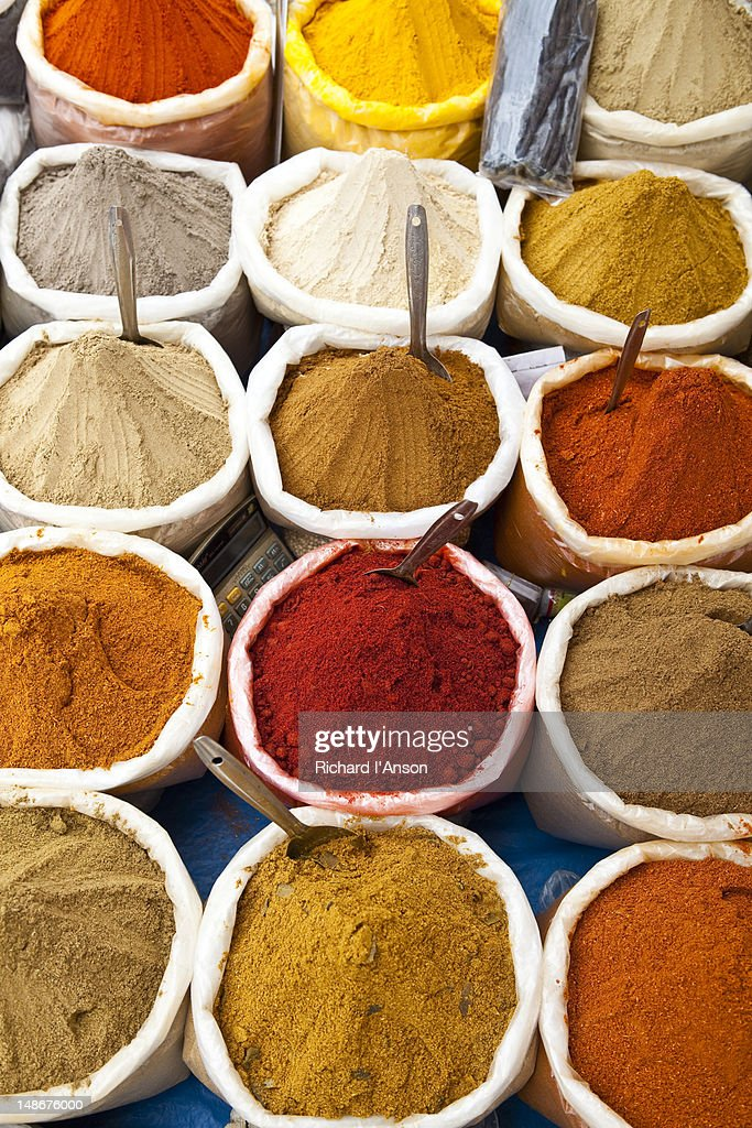 Spices for sale at Anjuna flea market. : Stock Photo