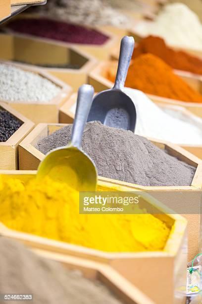 Spices for sale at local bazaar, Dubai